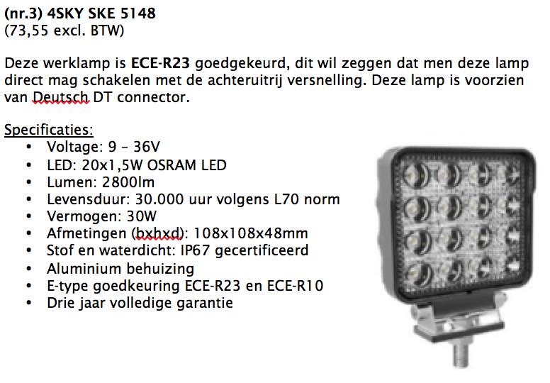 Rapport met technische informatie van de led werklamp