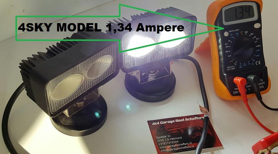 led werklampen vergelijken met multimeter