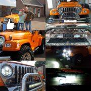 Ledbar en Led koplamp op Jeep Wrangler TJ 4SKY Lights