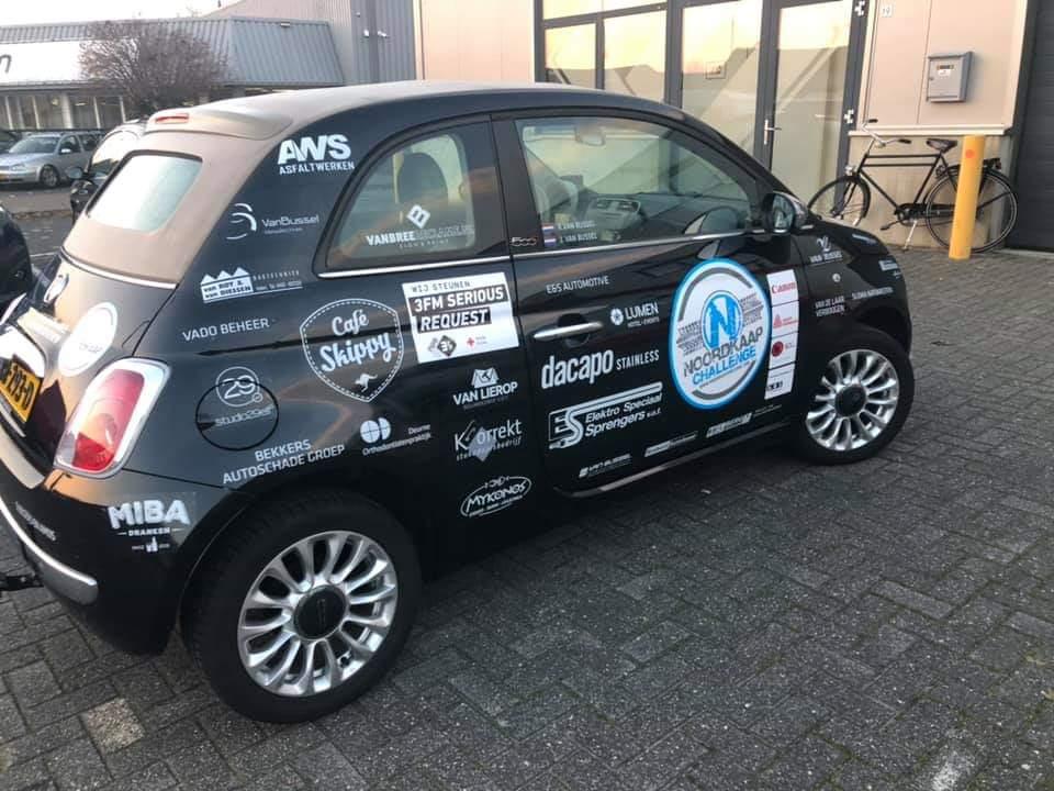 Fiat 500 geprepareerd voor noordkaap challenge